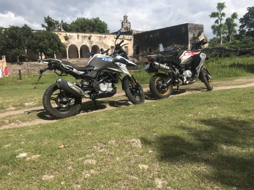 Our motocycles in front of Hacienda Uayalceh
